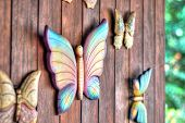 Butterfly figurines made of wood