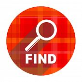 find red flat icon isolated