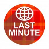 last minute red flat icon isolated