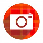 camera red flat icon isolated