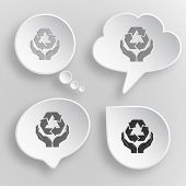Protection nature. White flat raster buttons on gray background.