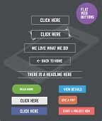 Flat designed web buttons