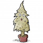 cartoon rotten old Christmas tree