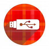 usb red flat icon isolated