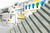 Grey steps against screen collage showing business advertisement