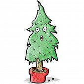 cartoon ragged old christmas tree