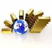 Gold bars abstract graph and 3d globe