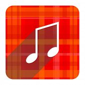 music red flat icon isolated