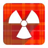 radiation red flat icon isolated