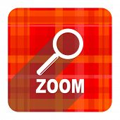 zoom red flat icon isolated