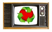 Vintage Television And Red Heart Recycle Sign