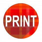 print red flat icon isolated