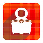 book red flat icon isolated