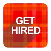 get hired red flat icon isolated
