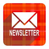 newsletter red flat icon isolated