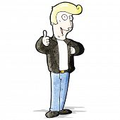 cartoon cool guy in leather jacket