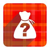 riddle red flat icon isolated