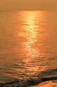 Golden Shimmering Sea Water With Wave,sun Light Refection On Sea Water