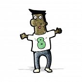cartoon man in shirt with number eight