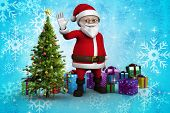 Cute cartoon santa claus against christmas tree with gifts