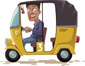 stock photo of rickshaw  - The smiling indian rickshaw is driving his three-wheeled vehicle. He is looking at camera.