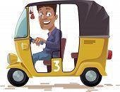 image of rickshaw  - The smiling indian rickshaw is driving his three-wheeled vehicle. He is looking at camera. Editable vector EPS v10.0 - JPG