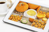 collage of pumpkin pictures on a digital tablet - pumpkin cream soup, juice and fresh seeds