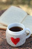 Cup with hot drink and book, outdoors