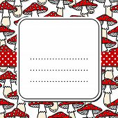 Toadstool mushrooms pattern on white with retro frame