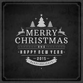picture of christmas greetings  - Christmas retro typography and ornament decoration - JPG