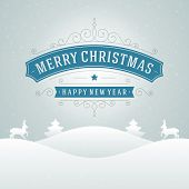 Merry Christmas holidays wish greeting card and vintage background