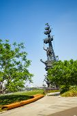 Peter the great on ship monument in summer, Moscow