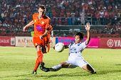 Sisaket Thailand-october 15: Brent Mcgrath Of Sisaket Fc. Shoot The Ball During Thai Premier League