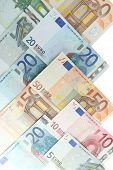 Euro banknotes close-up background
