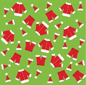 Santa claus clothes a green background.  EPS vector format.