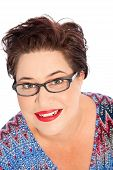 picture of close-up middle-aged woman  - Close up Smiling Short Hair Middle Age Fat Woman Wearing Eyeglasses Looking at the Camera - JPG