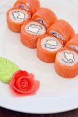 Salmon roll sushi tasty food