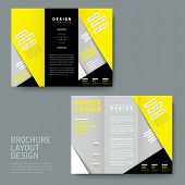 Modern Paper Texture Tri-fold In Yellow And Grey