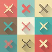 Set of different retro vector crosses and tics
