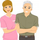 Illustration Featuring a Nurse Assisting an Elderly Patient