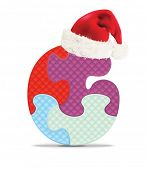 Letter G written with alphabet puzzle with Christmas hat - vector illustration
