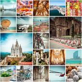 Collage of photos from Barcelona. Spain