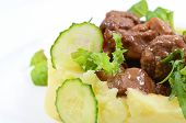 picture of veal meat  - Meat quenelles and veal with sauce from mushrooms from mashed potatoes - JPG
