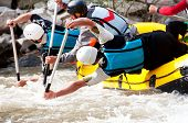 picture of raft  - Competition for Professional rafting teams at white water - JPG
