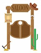 picture of west village  - doors in western saloon wild west vector illustration isolated on white background - JPG