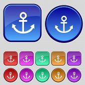 Anchor icon. Set colourful buttons sign. Vector
