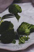 Delicious broccoli on a dish