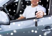 transportation, people, season and ownership concept - close up of smiling man with car key outdoors