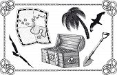 picture of treasure map  - set of pirate treasure in the frame - JPG