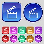 Cinema Clapper  sign icon. Video camera symbol. Set of colour buttons. Vector
